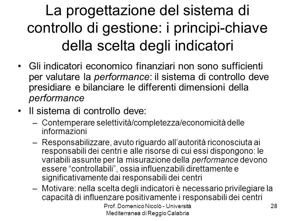 Prof. Domenico Nicolò - Università Mediterranea di Reggio Calabria 28 La progettazione del sistema di controllo di gestione: i principi-chiave della s