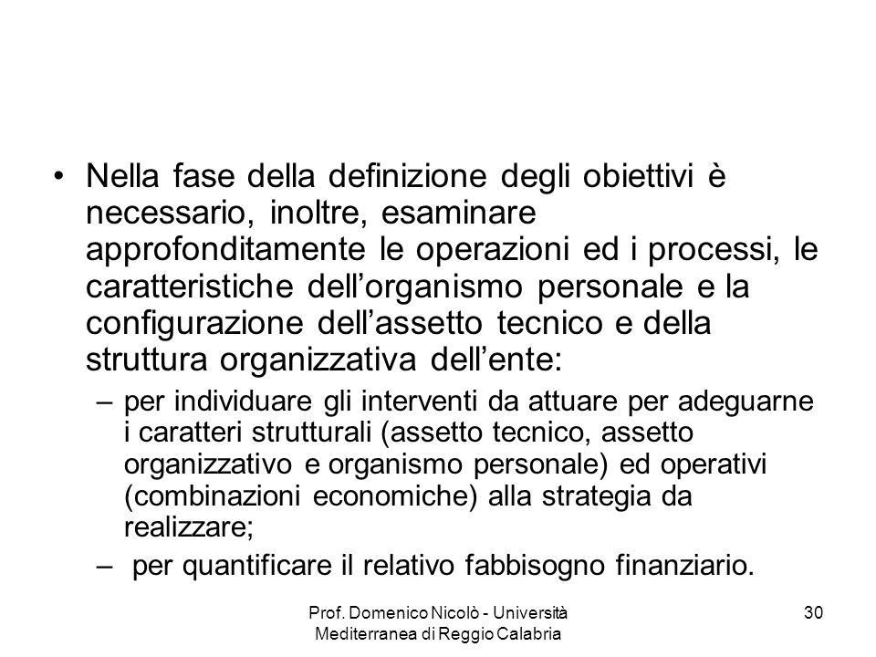 Prof. Domenico Nicolò - Università Mediterranea di Reggio Calabria 30 Nella fase della definizione degli obiettivi è necessario, inoltre, esaminare ap