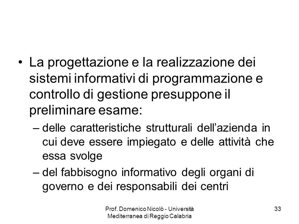 Prof. Domenico Nicolò - Università Mediterranea di Reggio Calabria 33 La progettazione e la realizzazione dei sistemi informativi di programmazione e