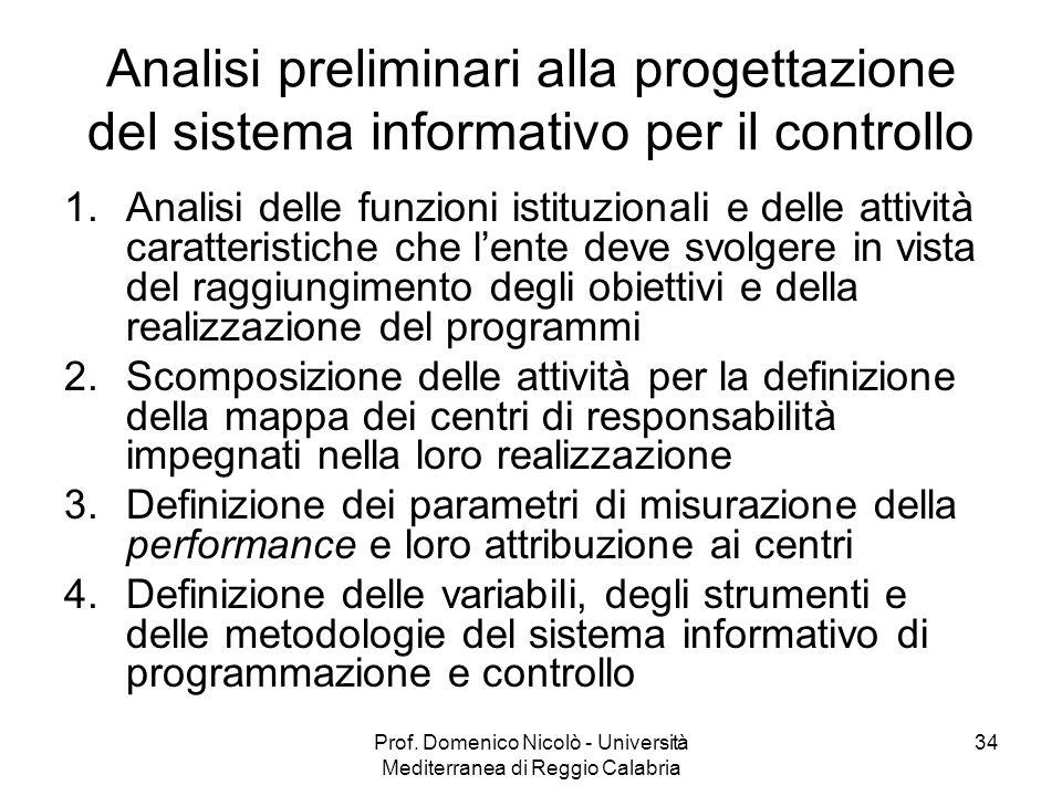 Prof. Domenico Nicolò - Università Mediterranea di Reggio Calabria 34 Analisi preliminari alla progettazione del sistema informativo per il controllo