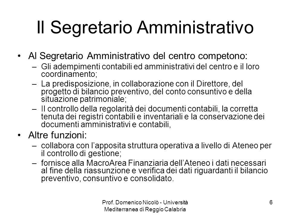 Prof. Domenico Nicolò - Università Mediterranea di Reggio Calabria 6 Il Segretario Amministrativo Al Segretario Amministrativo del centro competono: –