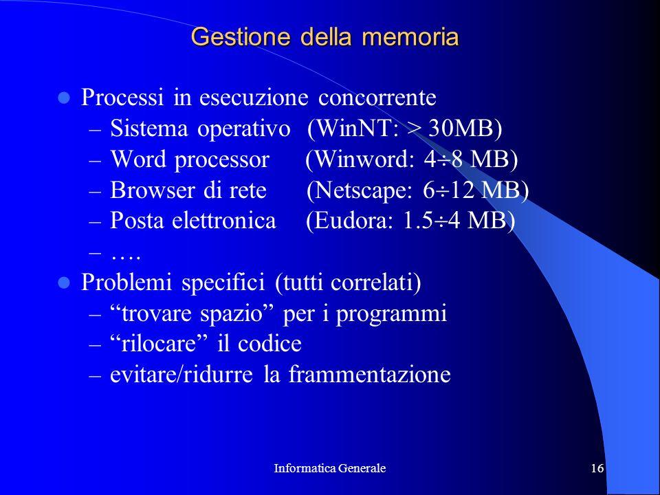 Informatica Generale16 Gestione della memoria Processi in esecuzione concorrente – Sistema operativo (WinNT: > 30MB) – Word processor (Winword: 4 8 MB