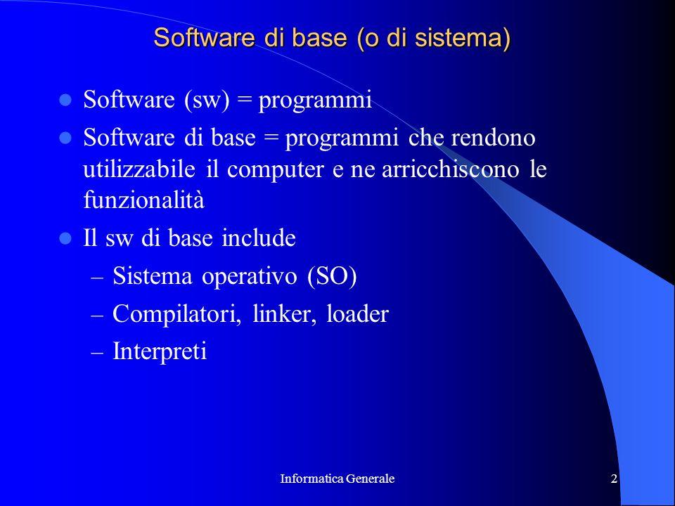 Informatica Generale2 Software di base (o di sistema) Software (sw) = programmi Software di base = programmi che rendono utilizzabile il computer e ne