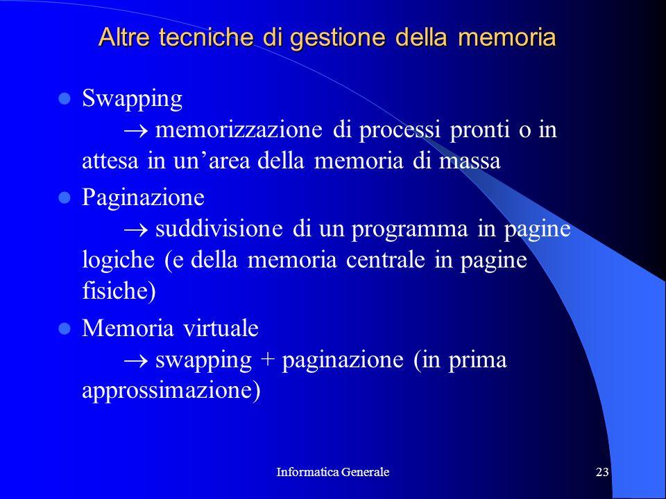 Informatica Generale23 Altre tecniche di gestione della memoria Swapping memorizzazione di processi pronti o in attesa in unarea della memoria di mass