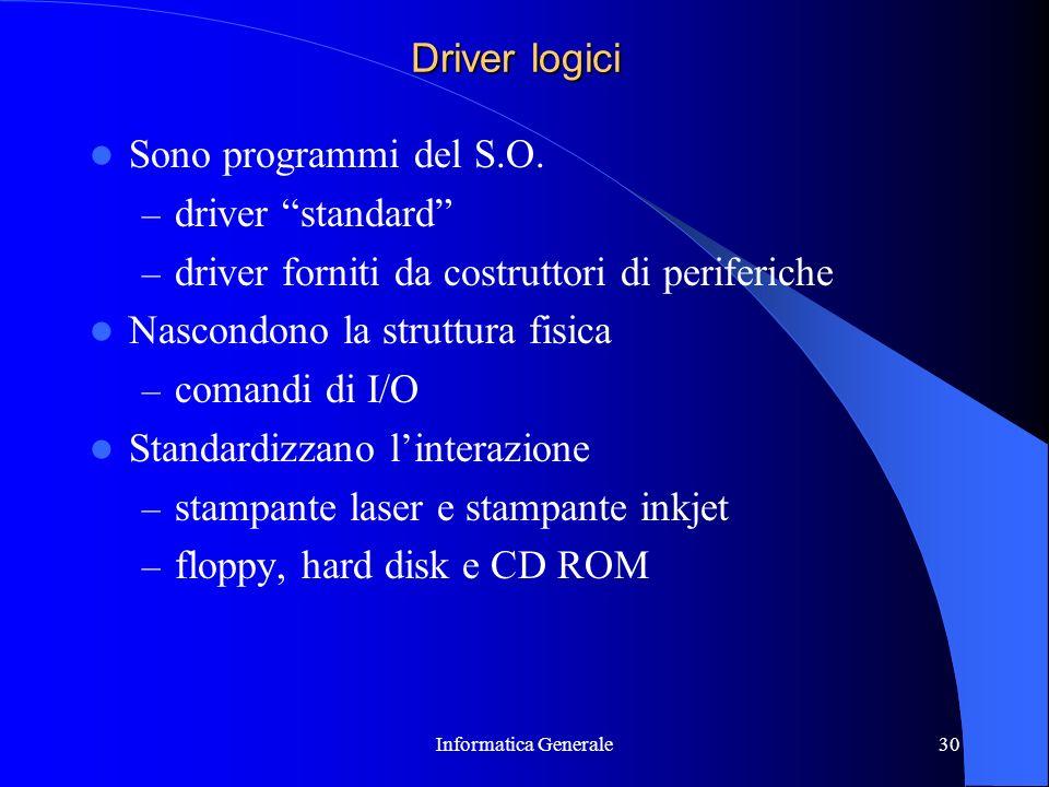 Informatica Generale30 Driver logici Sono programmi del S.O. – driver standard – driver forniti da costruttori di periferiche Nascondono la struttura