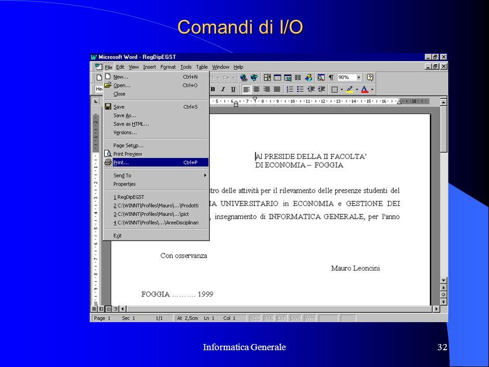 Informatica Generale32 Comandi di I/O