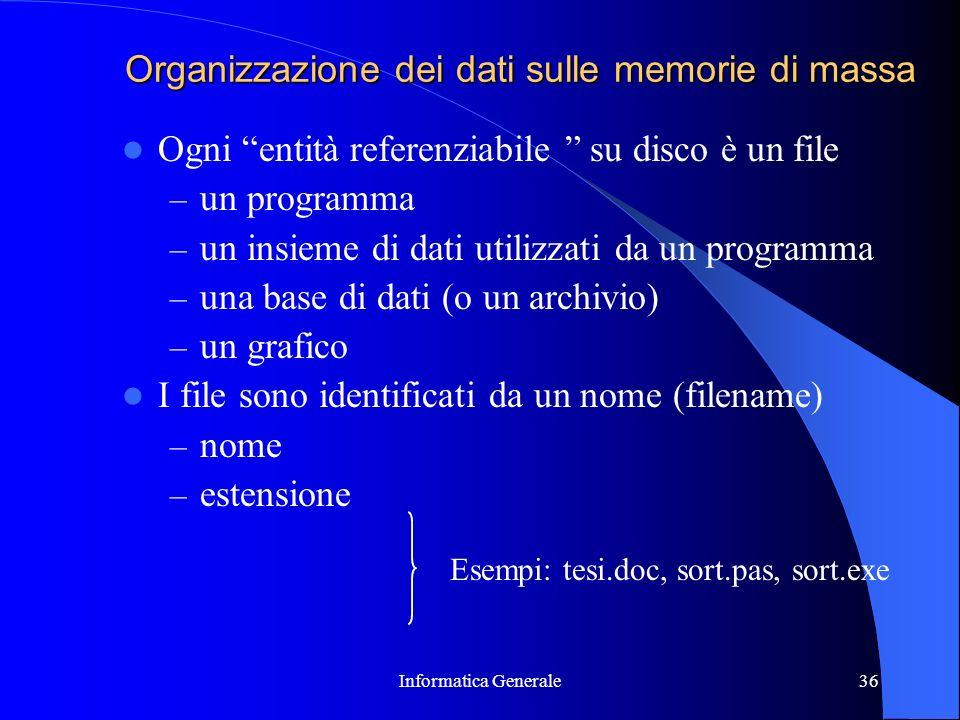 Informatica Generale36 Organizzazione dei dati sulle memorie di massa Ogni entità referenziabile su disco è un file – un programma – un insieme di dat