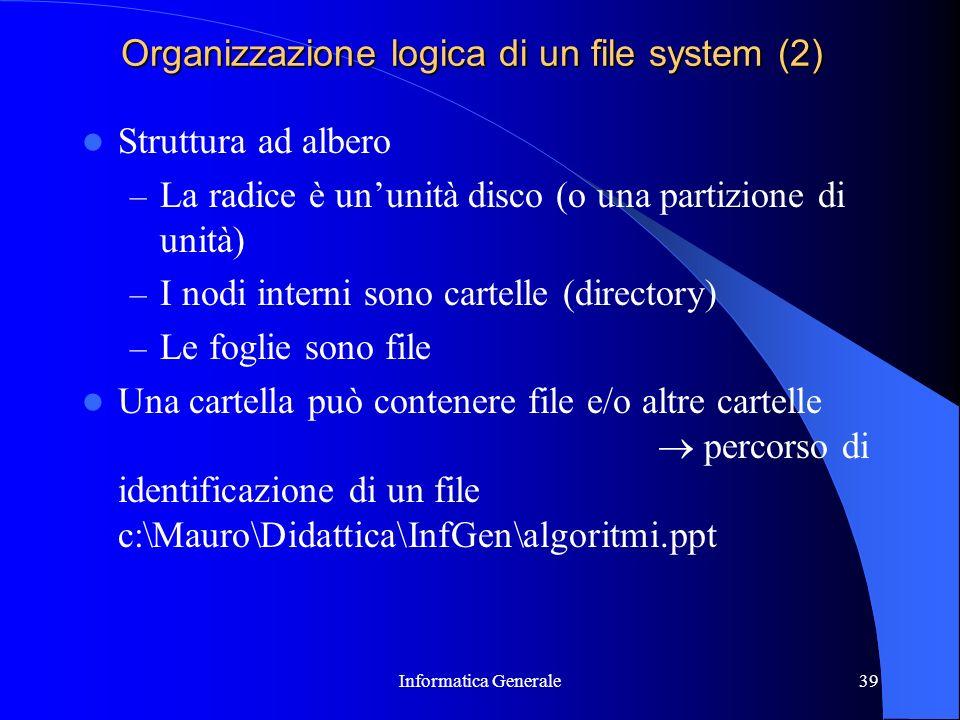 Informatica Generale39 Organizzazione logica di un file system (2) Struttura ad albero – La radice è ununità disco (o una partizione di unità) – I nod