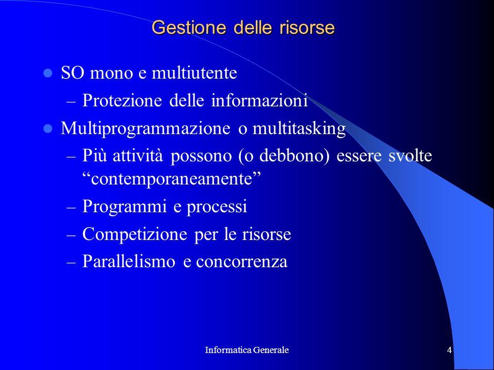 Informatica Generale4 Gestione delle risorse SO mono e multiutente – Protezione delle informazioni Multiprogrammazione o multitasking – Più attività p