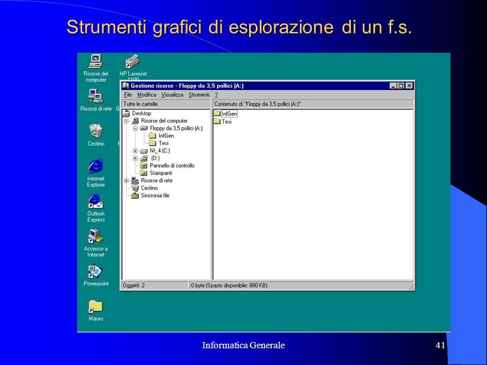 Informatica Generale41 Strumenti grafici di esplorazione di un f.s.
