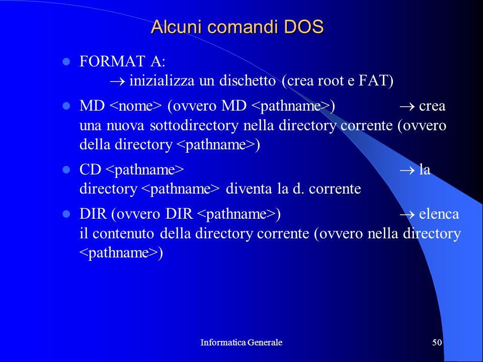 Informatica Generale50 Alcuni comandi DOS FORMAT A: inizializza un dischetto (crea root e FAT) MD (ovvero MD ) crea una nuova sottodirectory nella dir