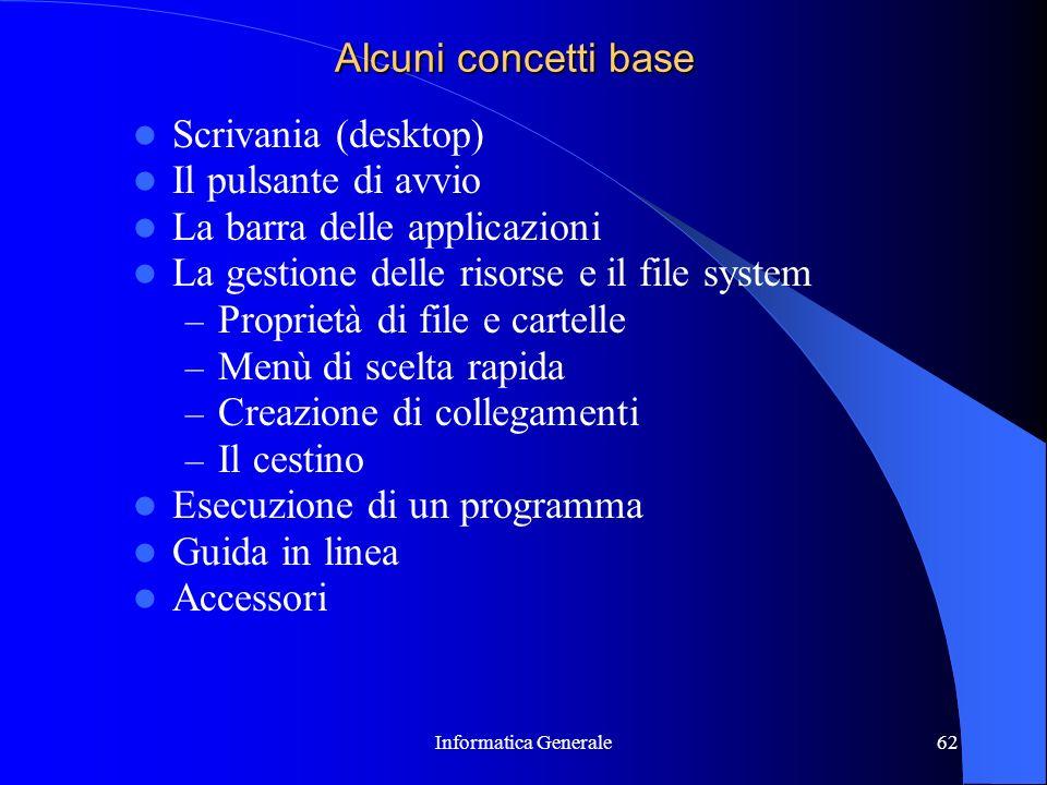 Informatica Generale62 Alcuni concetti base Scrivania (desktop) Il pulsante di avvio La barra delle applicazioni La gestione delle risorse e il file s