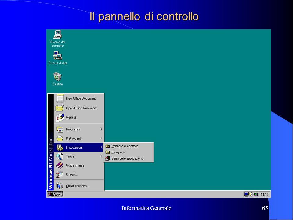 Informatica Generale65 Il pannello di controllo
