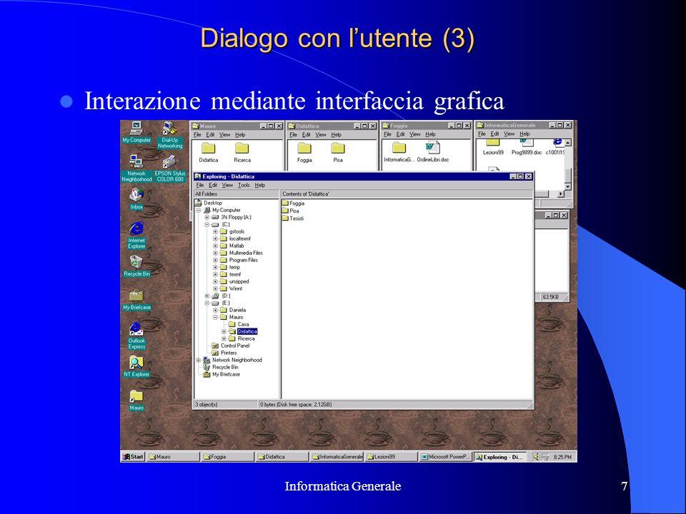 Informatica Generale7 Dialogo con lutente (3) Interazione mediante interfaccia grafica