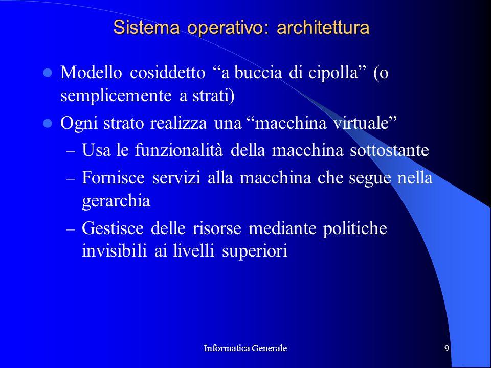 Informatica Generale9 Sistema operativo: architettura Modello cosiddetto a buccia di cipolla (o semplicemente a strati) Ogni strato realizza una macch