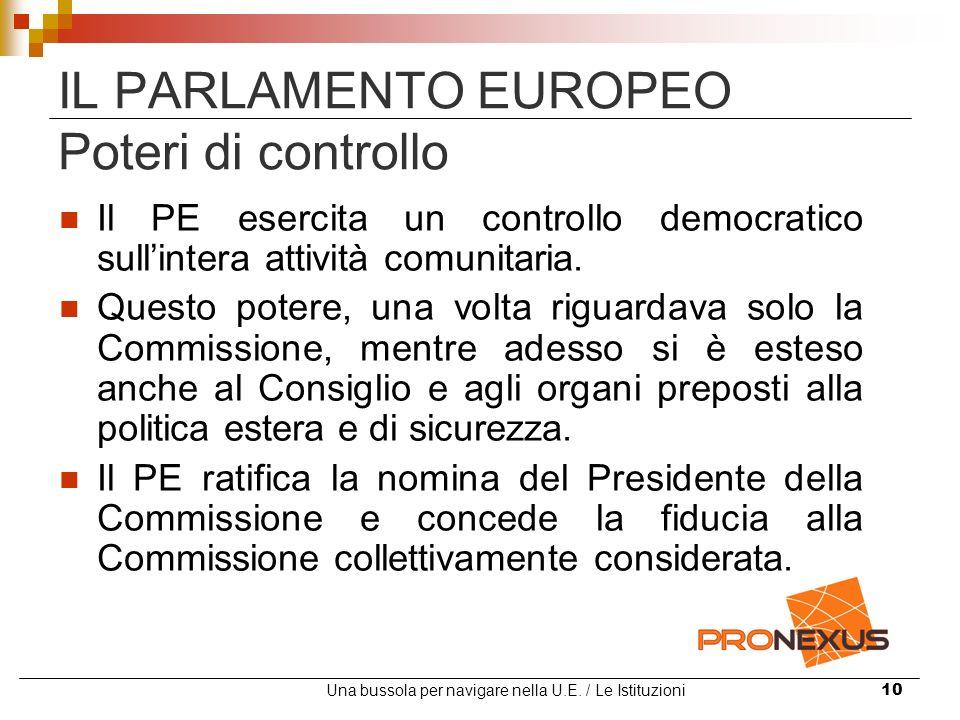 Una bussola per navigare nella U.E. / Le Istituzioni10 IL PARLAMENTO EUROPEO Poteri di controllo Il PE esercita un controllo democratico sullintera at