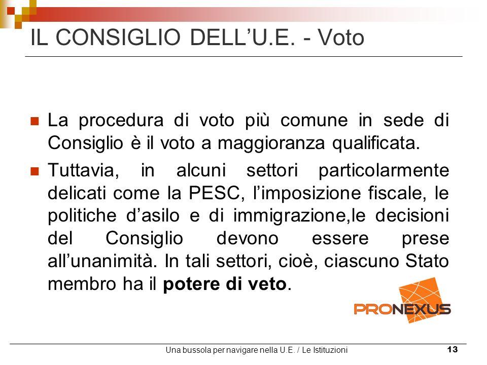 Una bussola per navigare nella U.E. / Le Istituzioni13 IL CONSIGLIO DELLU.E. - Voto La procedura di voto più comune in sede di Consiglio è il voto a m