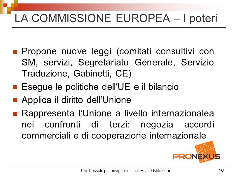 Una bussola per navigare nella U.E. / Le Istituzioni16 LA COMMISSIONE EUROPEA – I poteri Propone nuove leggi (comitati consultivi con SM, servizi, Seg