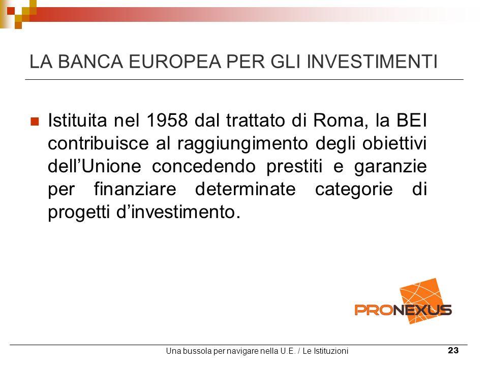 Una bussola per navigare nella U.E. / Le Istituzioni23 LA BANCA EUROPEA PER GLI INVESTIMENTI Istituita nel 1958 dal trattato di Roma, la BEI contribui