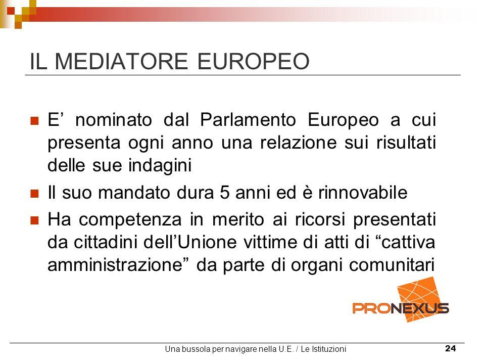 Una bussola per navigare nella U.E. / Le Istituzioni24 IL MEDIATORE EUROPEO E nominato dal Parlamento Europeo a cui presenta ogni anno una relazione s