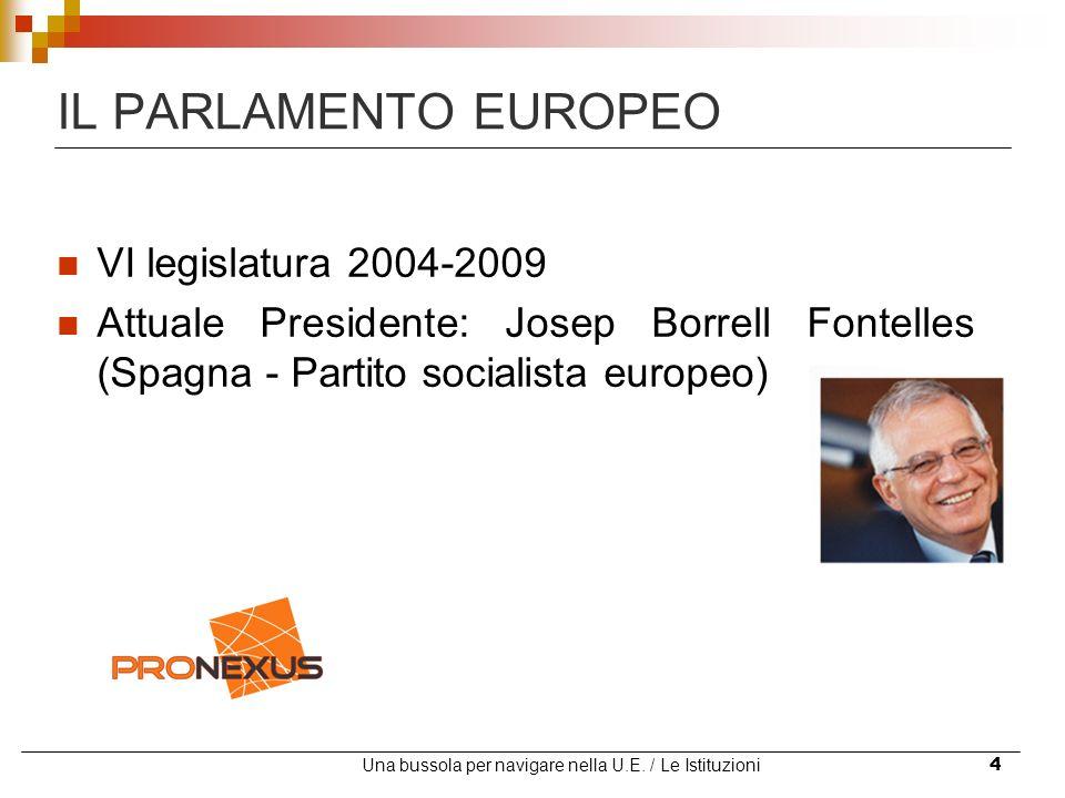 Una bussola per navigare nella U.E. / Le Istituzioni4 IL PARLAMENTO EUROPEO VI legislatura 2004-2009 Attuale Presidente: Josep Borrell Fontelles (Spag