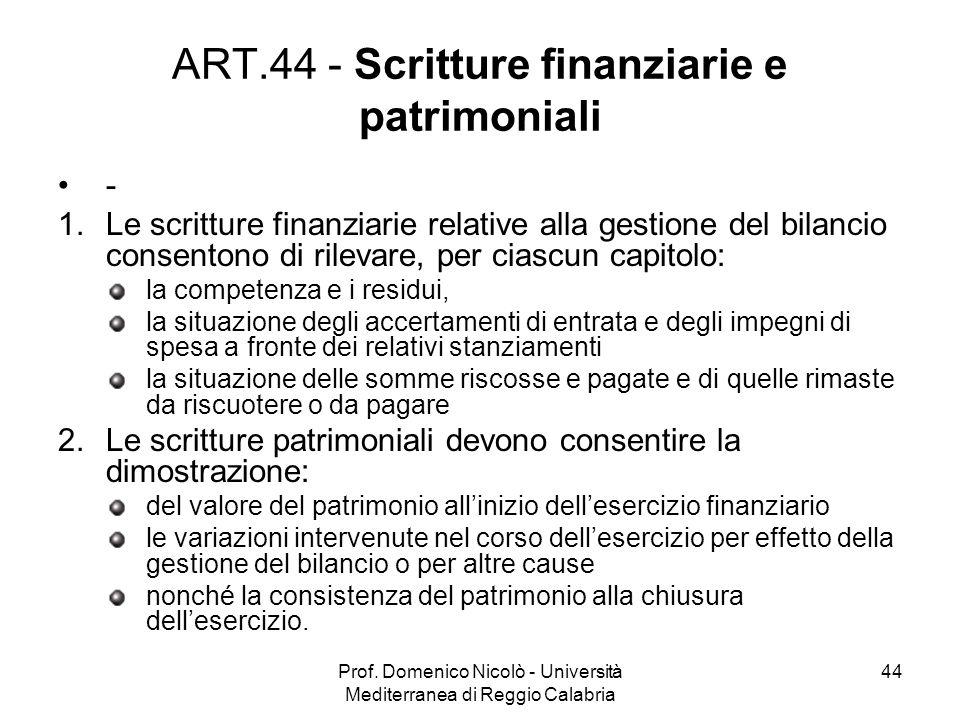 Prof. Domenico Nicolò - Università Mediterranea di Reggio Calabria 44 ART.44 - Scritture finanziarie e patrimoniali - 1.Le scritture finanziarie relat