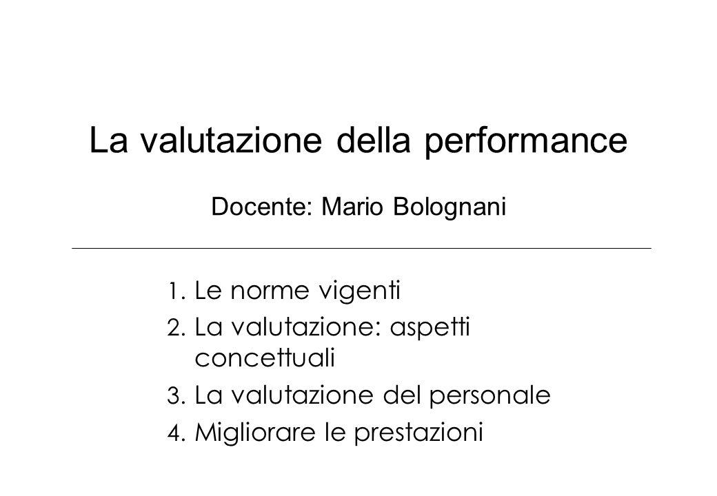 La valutazione della performance Docente: Mario Bolognani 1. Le norme vigenti 2. La valutazione: aspetti concettuali 3. La valutazione del personale 4