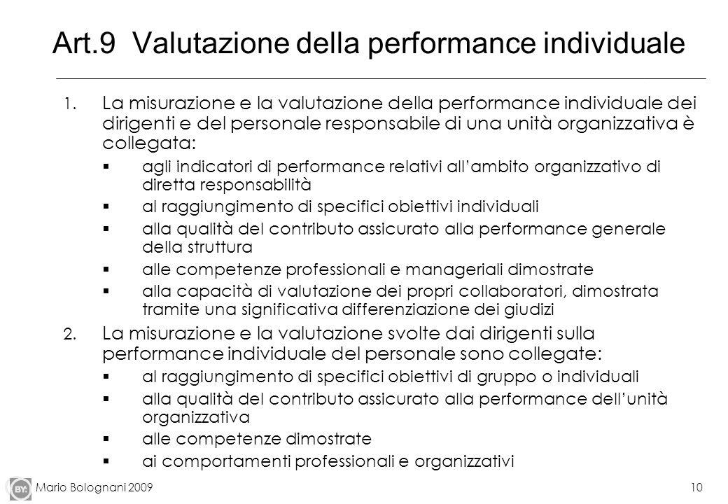 Mario Bolognani 200910 Art.9 Valutazione della performance individuale 1. La misurazione e la valutazione della performance individuale dei dirigenti