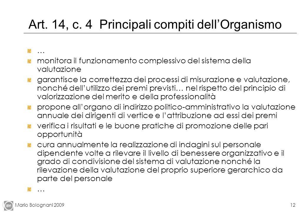 Mario Bolognani 200912 Art. 14, c. 4 Principali compiti dellOrganismo … monitora il funzionamento complessivo del sistema della valutazione garantisce