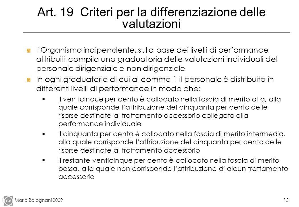 Mario Bolognani 200913 Art. 19 Criteri per la differenziazione delle valutazioni lOrganismo indipendente, sulla base dei livelli di performance attrib