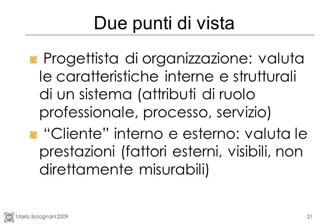 Mario Bolognani 200921 Due punti di vista Progettista di organizzazione: valuta le caratteristiche interne e strutturali di un sistema (attributi di r