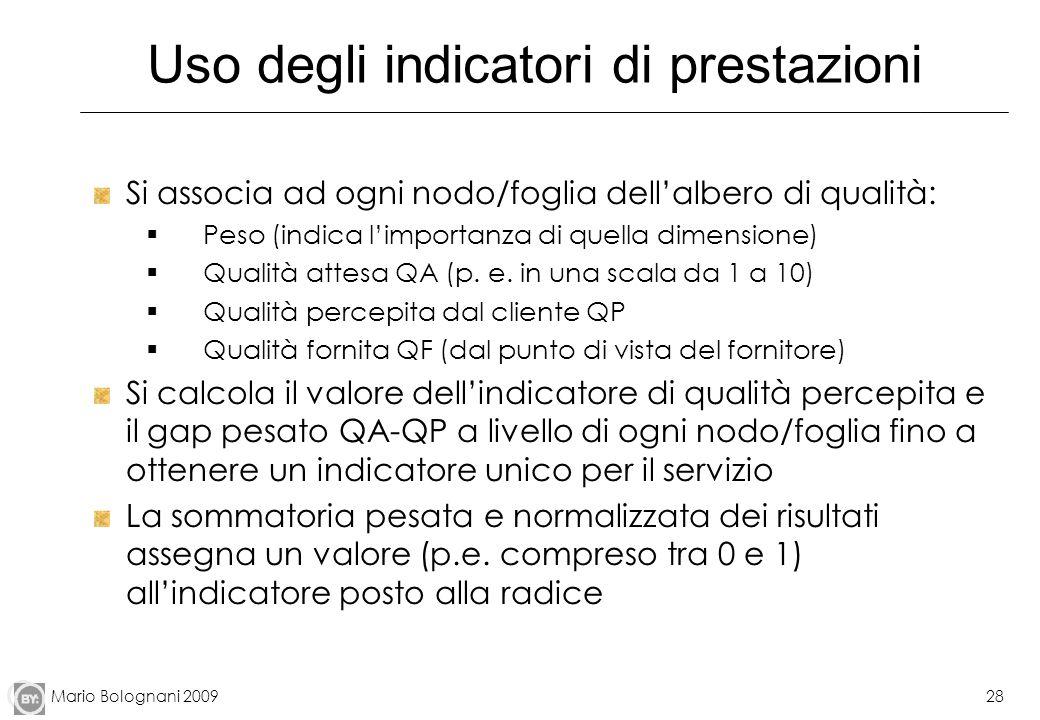 Mario Bolognani 200928 Uso degli indicatori di prestazioni Si associa ad ogni nodo/foglia dellalbero di qualità: Peso (indica limportanza di quella di