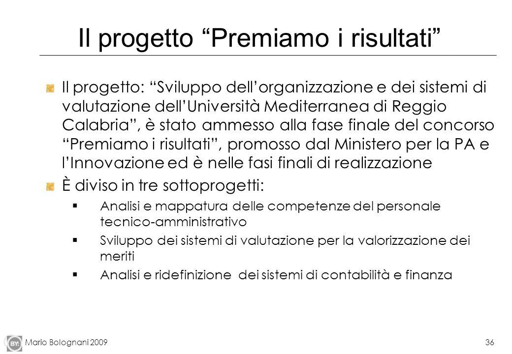 Mario Bolognani 200936 Il progetto Premiamo i risultati Il progetto: Sviluppo dellorganizzazione e dei sistemi di valutazione dellUniversità Mediterra