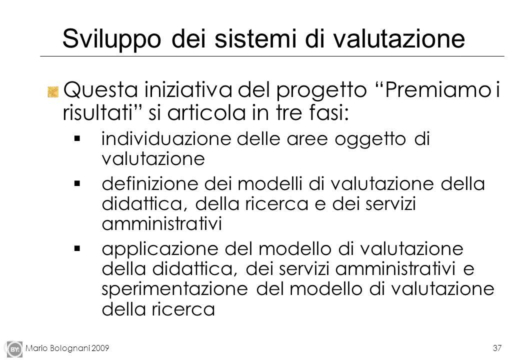 Mario Bolognani 200937 Sviluppo dei sistemi di valutazione Questa iniziativa del progetto Premiamo i risultati si articola in tre fasi: individuazione