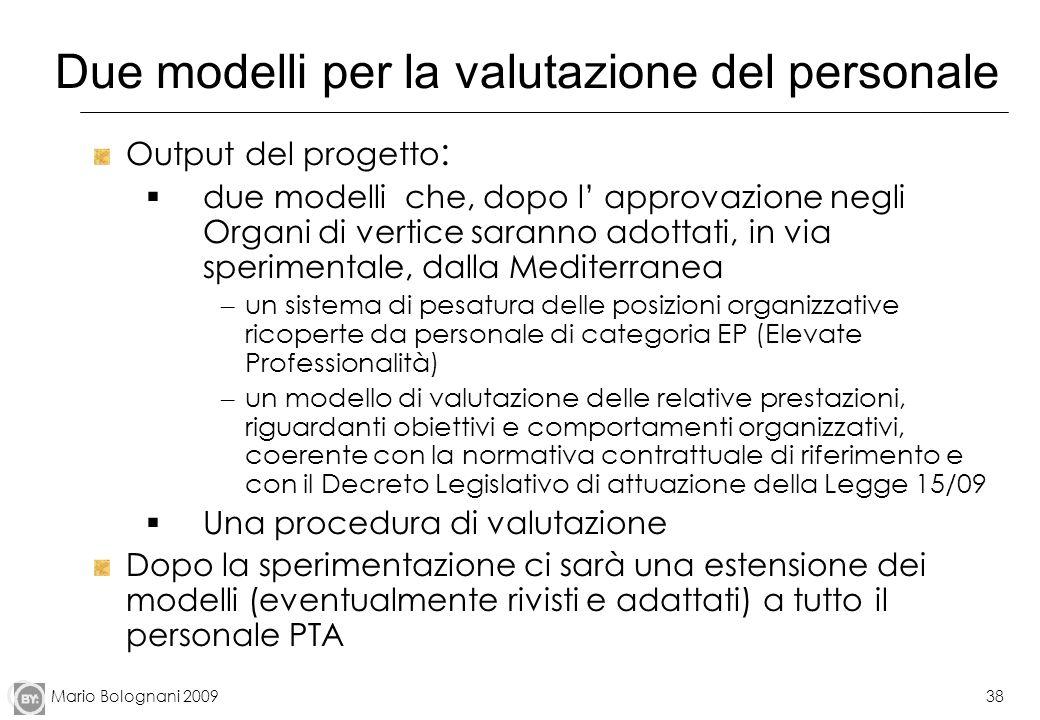 Mario Bolognani 200938 Due modelli per la valutazione del personale Output del progetto : due modelli che, dopo l approvazione negli Organi di vertice