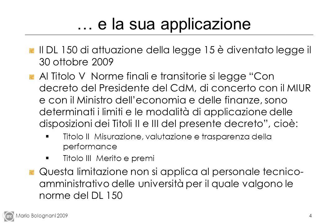 Mario Bolognani 20094 … e la sua applicazione Il DL 150 di attuazione della legge 15 è diventato legge il 30 ottobre 2009 Al Titolo V Norme finali e t