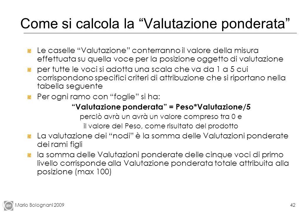Mario Bolognani 200942 Come si calcola la Valutazione ponderata Le caselle Valutazione conterranno il valore della misura effettuata su quella voce pe
