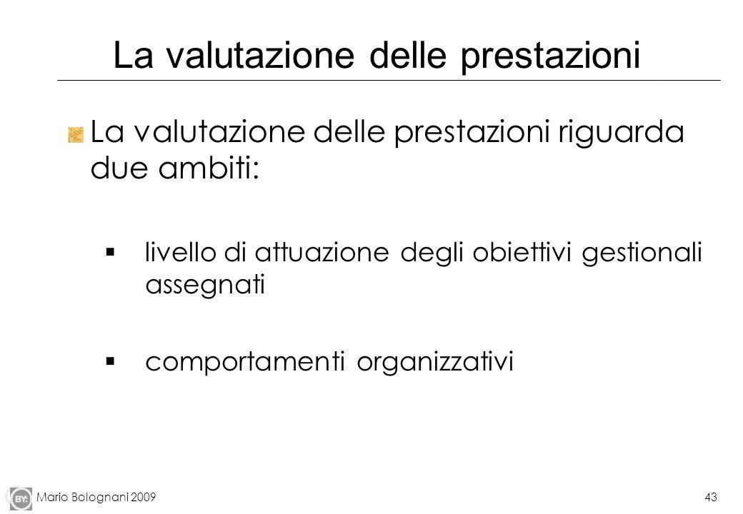 Mario Bolognani 200943 La valutazione delle prestazioni La valutazione delle prestazioni riguarda due ambiti: livello di attuazione degli obiettivi ge