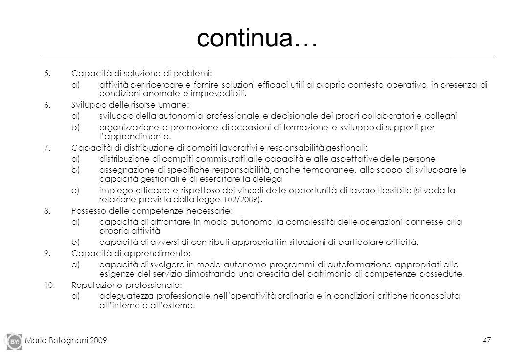 Mario Bolognani 200947 continua… 5. Capacità di soluzione di problemi: a)attività per ricercare e fornire soluzioni efficaci utili al proprio contesto