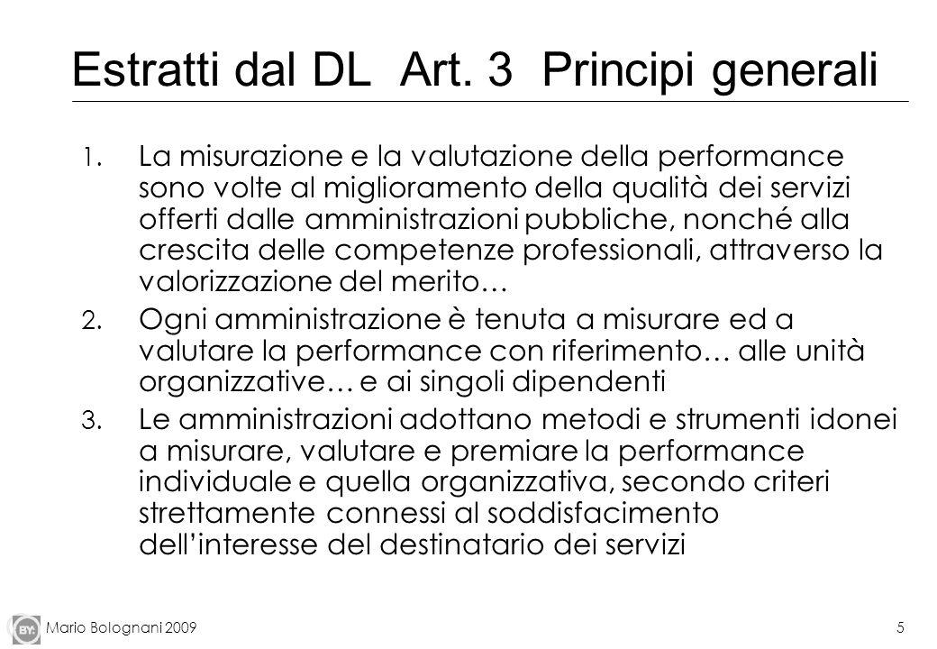 Mario Bolognani 20095 Estratti dal DL Art. 3 Principi generali 1. La misurazione e la valutazione della performance sono volte al miglioramento della