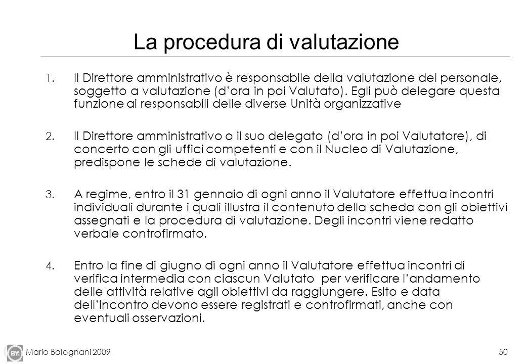 Mario Bolognani 200950 La procedura di valutazione 1. Il Direttore amministrativo è responsabile della valutazione del personale, soggetto a valutazio