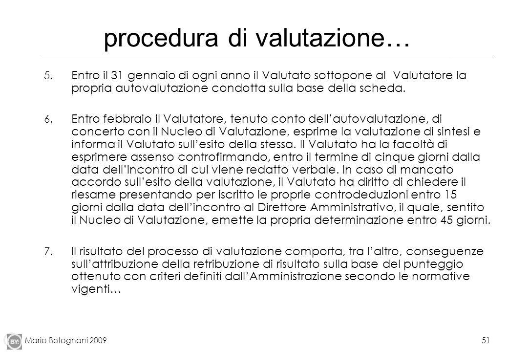 Mario Bolognani 200951 procedura di valutazione… 5. Entro il 31 gennaio di ogni anno il Valutato sottopone al Valutatore la propria autovalutazione co