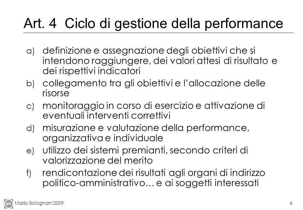 Mario Bolognani 20096 Art. 4 Ciclo di gestione della performance a) definizione e assegnazione degli obiettivi che si intendono raggiungere, dei valor