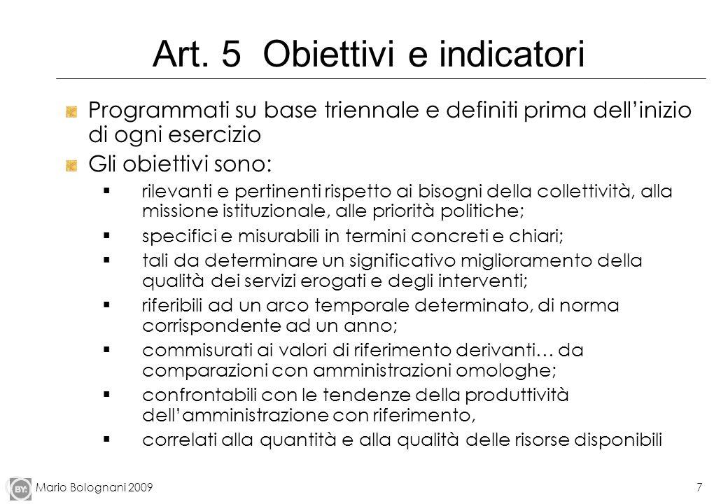 Mario Bolognani 20097 Art. 5 Obiettivi e indicatori Programmati su base triennale e definiti prima dellinizio di ogni esercizio Gli obiettivi sono: ri