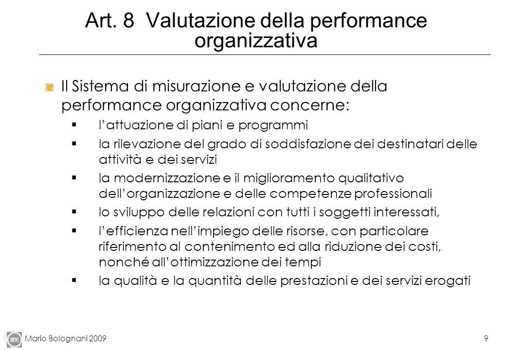 Mario Bolognani 20099 Art. 8 Valutazione della performance organizzativa Il Sistema di misurazione e valutazione della performance organizzativa conce