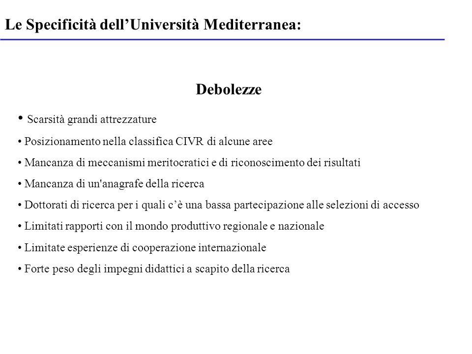 Le Specificità dellUniversità Mediterranea: Debolezze Scarsità grandi attrezzature Posizionamento nella classifica CIVR di alcune aree Mancanza di mec