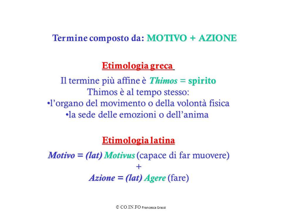 MOTIVO + AZIONE Termine composto da: MOTIVO + AZIONE Etimologia latina Motivo = (lat) Motivus (capace di far muovere) + Azione = (lat) Agere (fare) Et