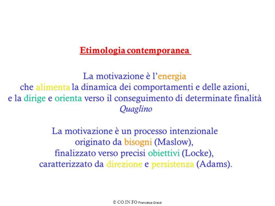 Francesca Grassi © CO.IN.FO Francesca Grassi Etimologia contemporanea La motivazione è lenergia che alimenta la dinamica dei comportamenti e delle azi