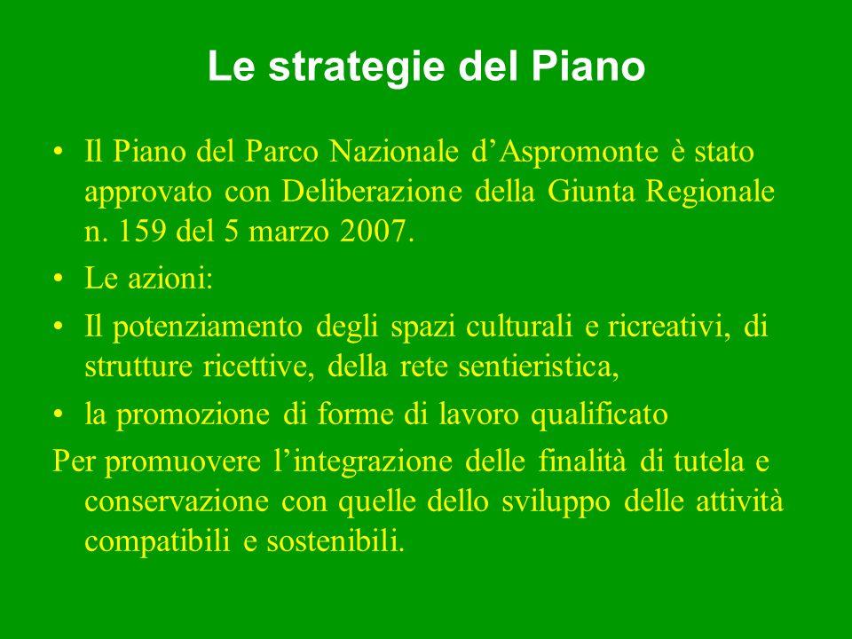 Le strategie del Piano Il Piano del Parco Nazionale dAspromonte è stato approvato con Deliberazione della Giunta Regionale n.