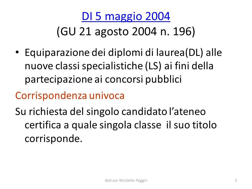 dott.ssa Nicoletta Paggin3 DI 5 maggio 2004 DI 5 maggio 2004 (GU 21 agosto 2004 n. 196) Equiparazione dei diplomi di laurea(DL) alle nuove classi spec